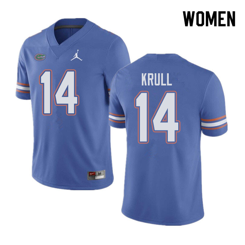 Jordan Brand Women #14 Lucas Krull Florida Gators College Football Jerseys Sale-Blue