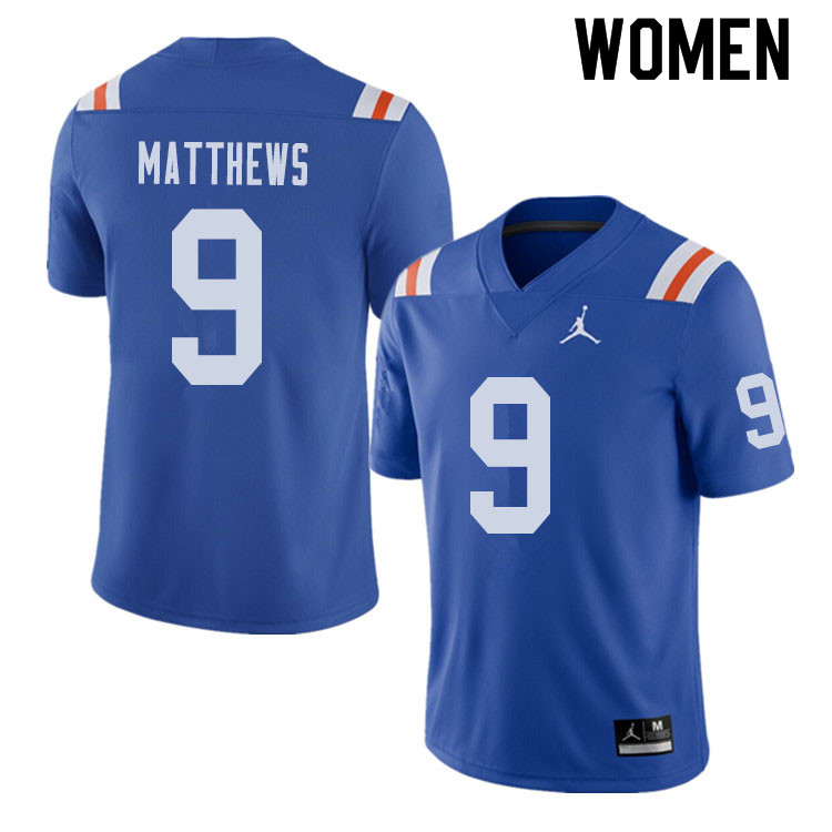 Jordan Brand Women #9 Luke Matthews Florida Gators Throwback Alternate College Football Jerseys Sale