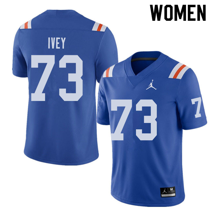Jordan Brand Women #73 Martez Ivey Florida Gators Throwback Alternate College Football Jerseys Sale-