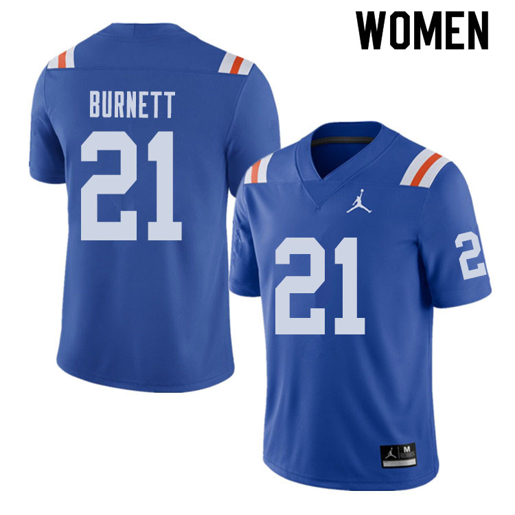 Jordan Brand Women #21 McArthur Burnett Florida Gators Throwback Alternate College Football Jerseys