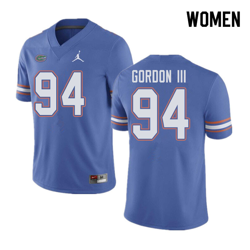 Jordan Brand Women #94 Moses Gordon III Florida Gators College Football Jerseys Sale-Blue
