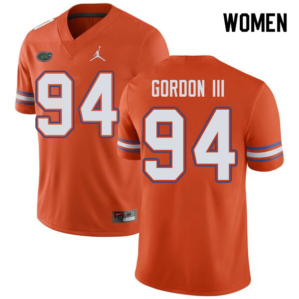 Jordan Brand Women #94 Moses Gordon III Florida Gators College Football Jerseys Sale-Orange