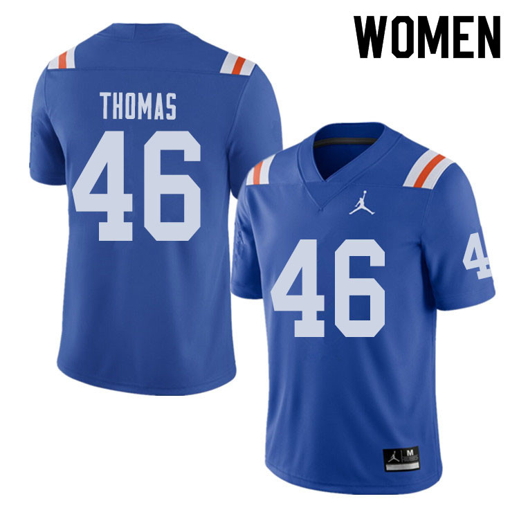 Jordan Brand Women #46 Will Thomas Florida Gators Throwback Alternate College Football Jerseys Sale-