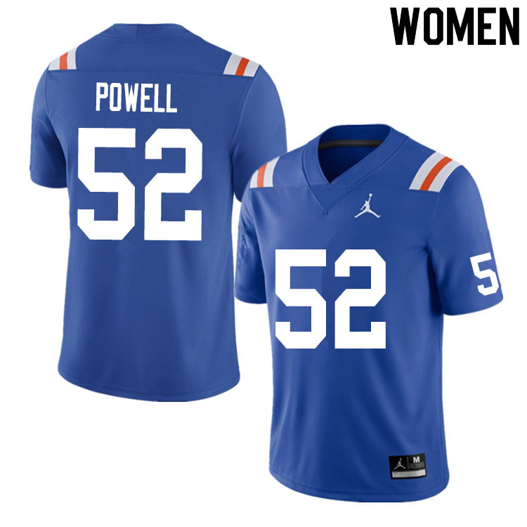 Women #52 Antwuan Powell Florida Gators College Football Jerseys Sale-Throwback