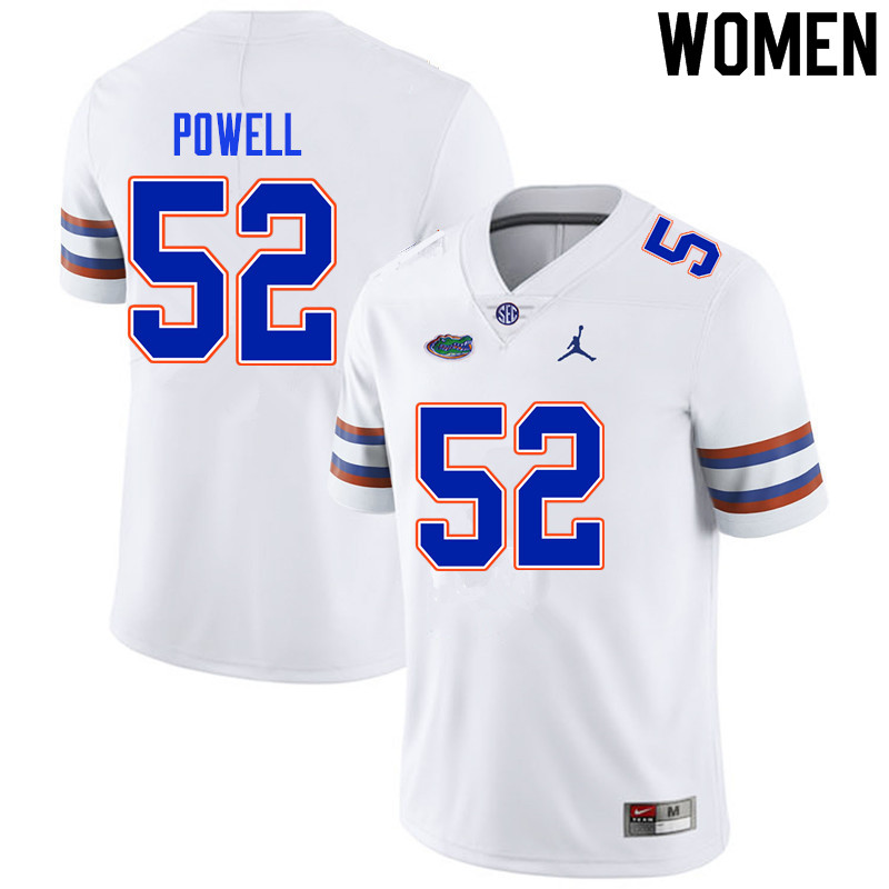 Women #52 Antwuan Powell Florida Gators College Football Jerseys Sale-White