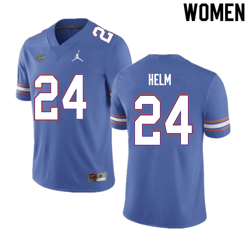 Women #24 Avery Helm Florida Gators College Football Jerseys Sale-Blue