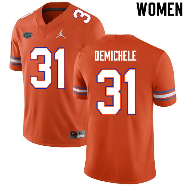 Women #31 Chase DeMichele Florida Gators College Football Jerseys Sale-Orange
