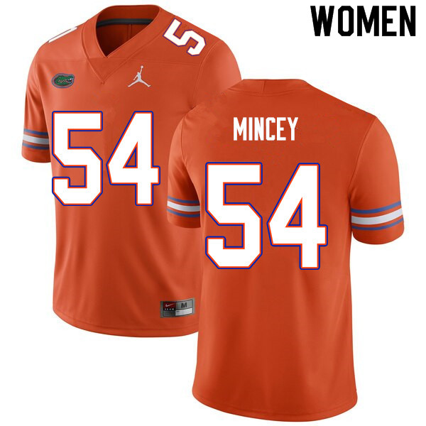 Women #54 Gerald Mincey Florida Gators College Football Jerseys Sale-Orange
