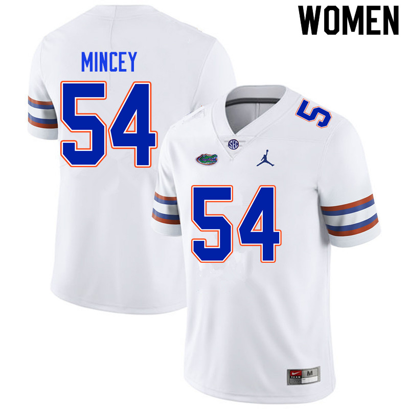 Women #54 Gerald Mincey Florida Gators College Football Jerseys Sale-White