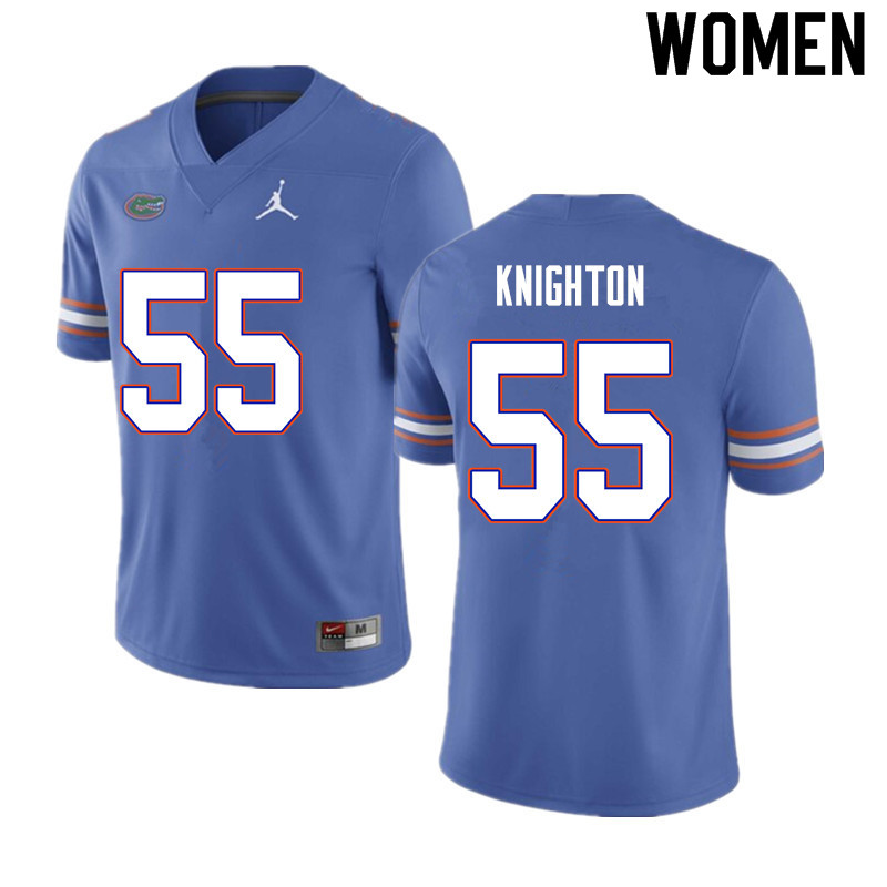 Women #55 Hayden Knighton Florida Gators College Football Jerseys Sale-Blue