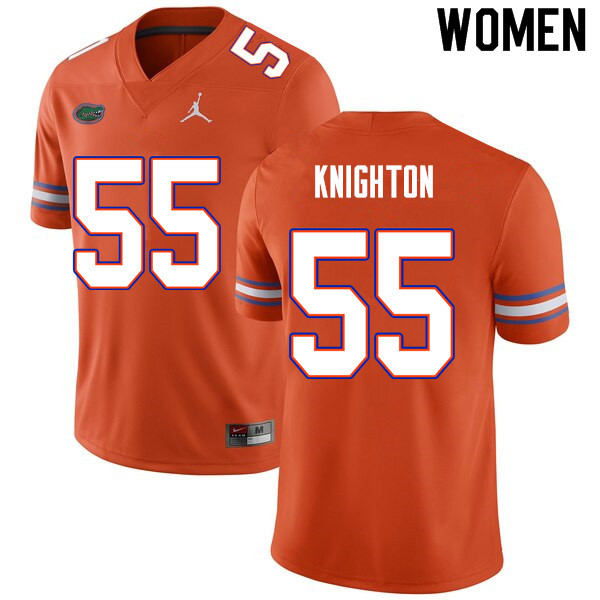 Women #55 Hayden Knighton Florida Gators College Football Jerseys Sale-Orange