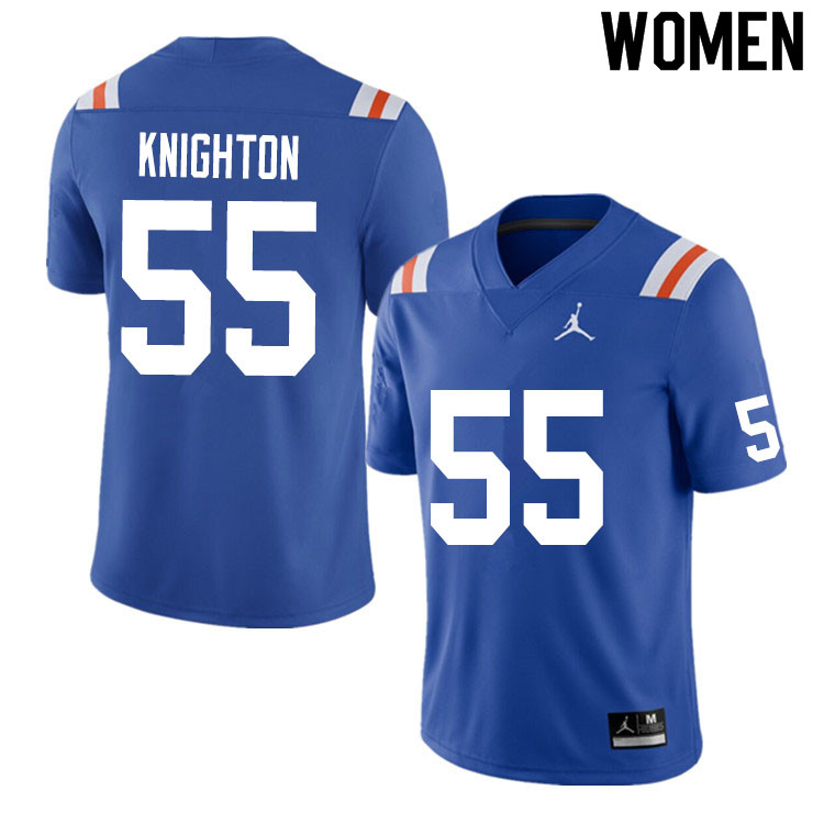 Women #55 Hayden Knighton Florida Gators College Football Jerseys Sale-Throwback