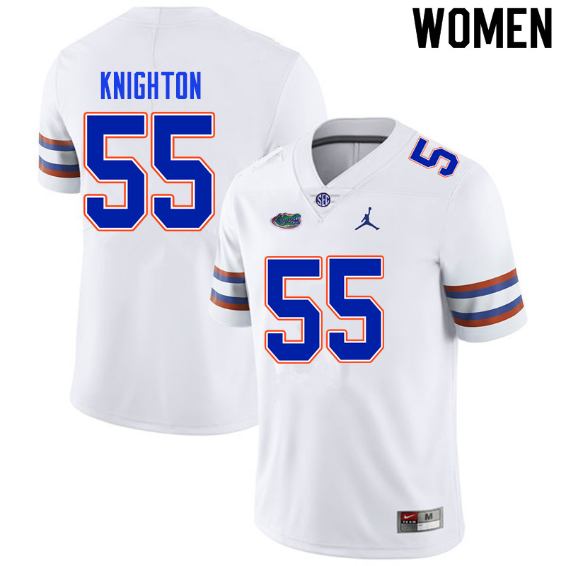 Women #55 Hayden Knighton Florida Gators College Football Jerseys Sale-White