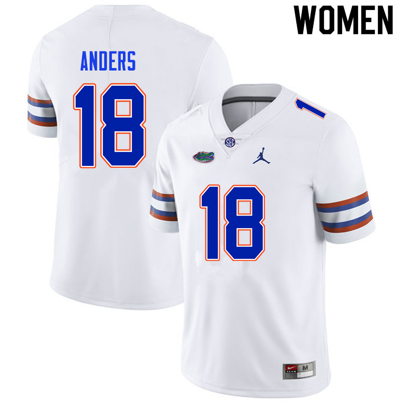 Women #18 Jack Anders Florida Gators College Football Jerseys Sale-White