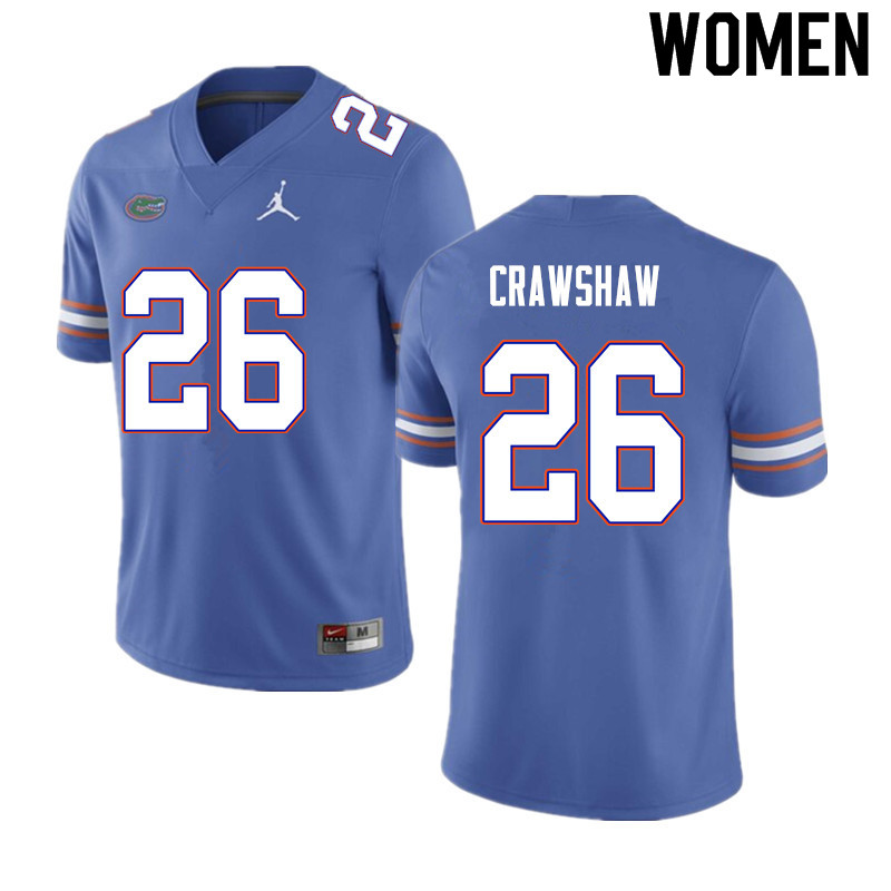 Women #26 Jeremy Crawshaw Florida Gators College Football Jerseys Sale-Blue
