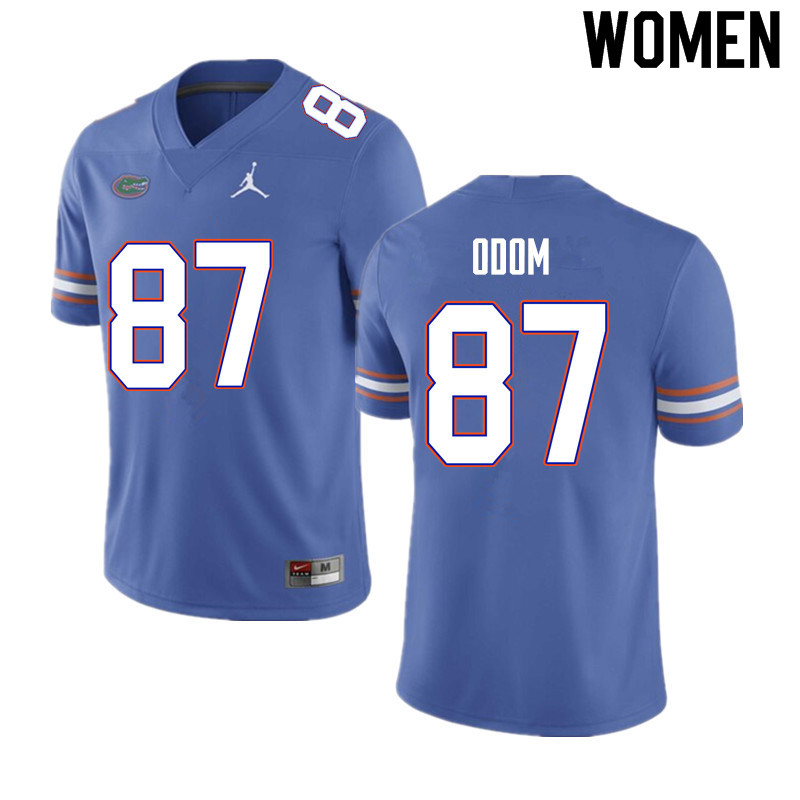 Women #87 Jonathan Odom Florida Gators College Football Jerseys Sale-Blue