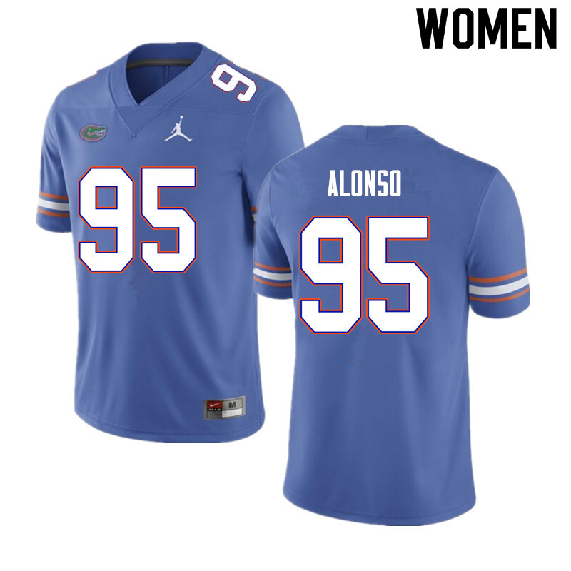 Women #95 Lucas Alonso Florida Gators College Football Jerseys Sale-Blue