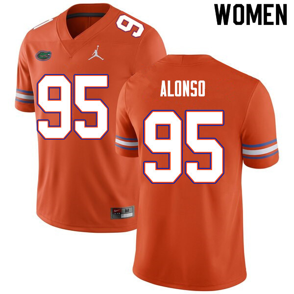 Women #95 Lucas Alonso Florida Gators College Football Jerseys Sale-Orange