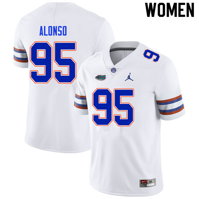 Women #95 Lucas Alonso Florida Gators College Football Jerseys Sale-White