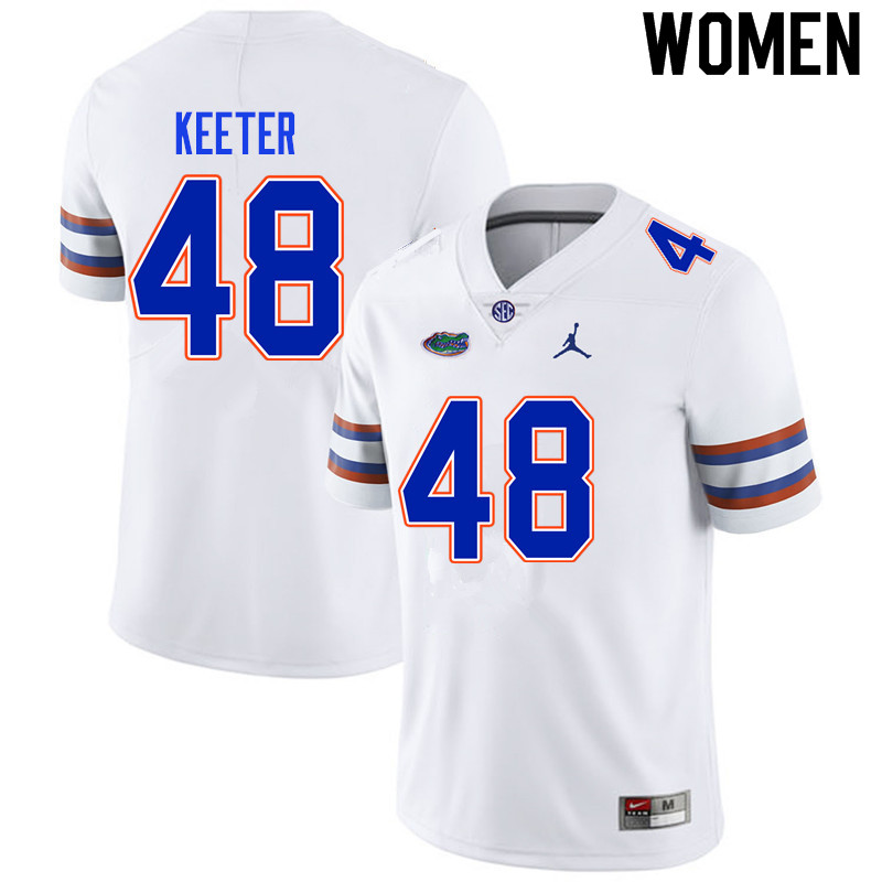 Women #48 Noah Keeter Florida Gators College Football Jerseys Sale-White