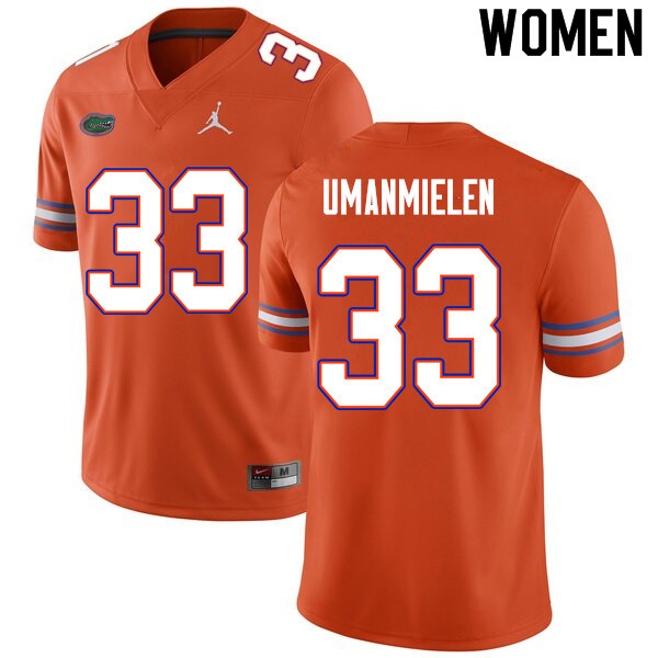 Women #33 Princely Umanmielen Florida Gators College Football Jerseys Sale-Orange