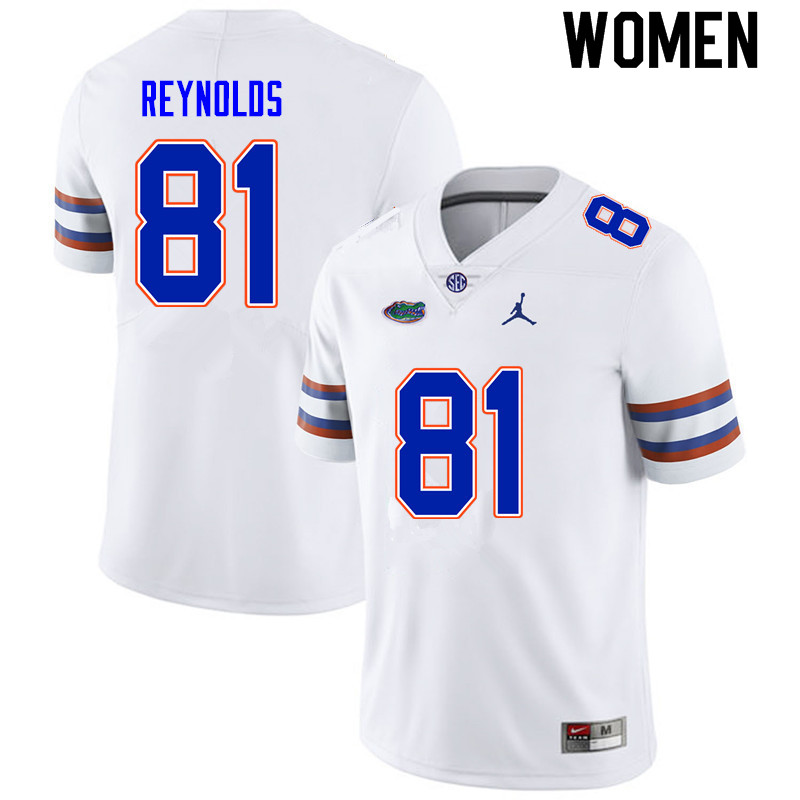 Women #81 Daejon Reynolds Florida Gators College Football Jerseys Sale-White