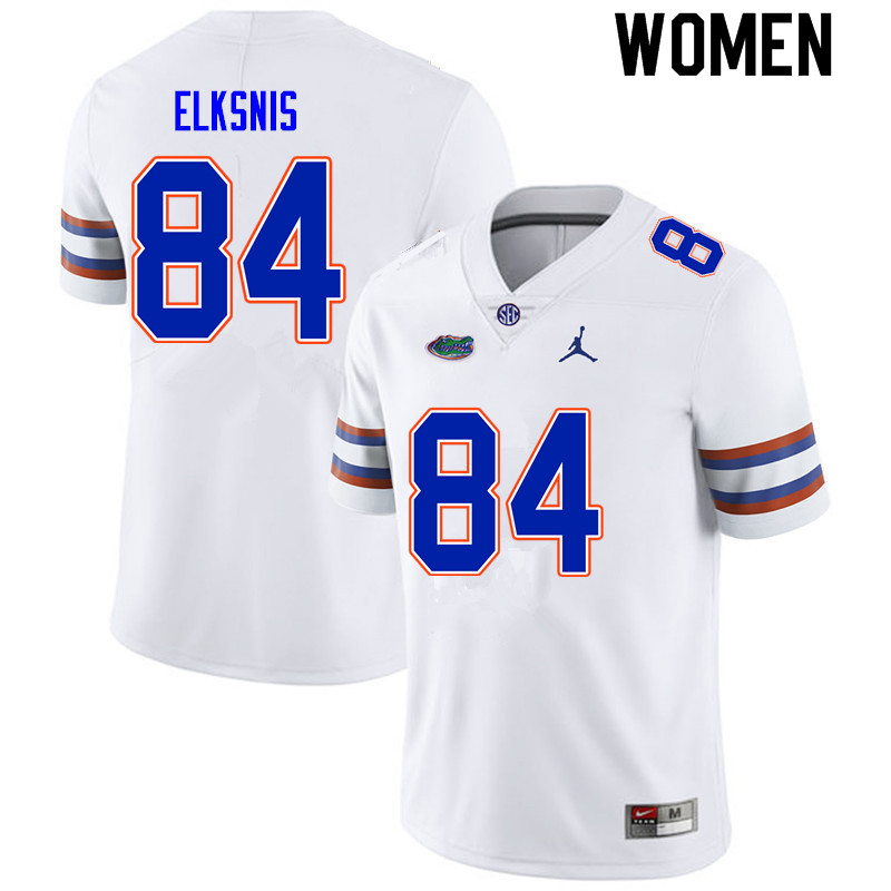 Women #84 Nick Elksnis Florida Gators College Football Jerseys Sale-White