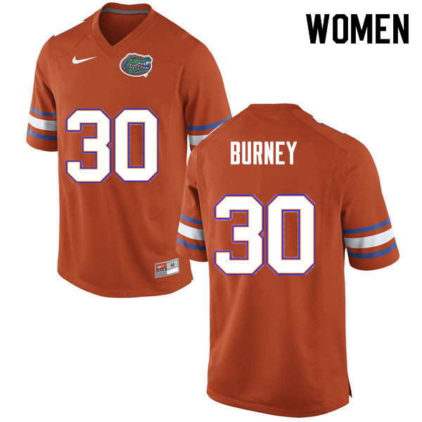 Women #30 Amari Burney Florida Gators College Football Jerseys Sale-Orange