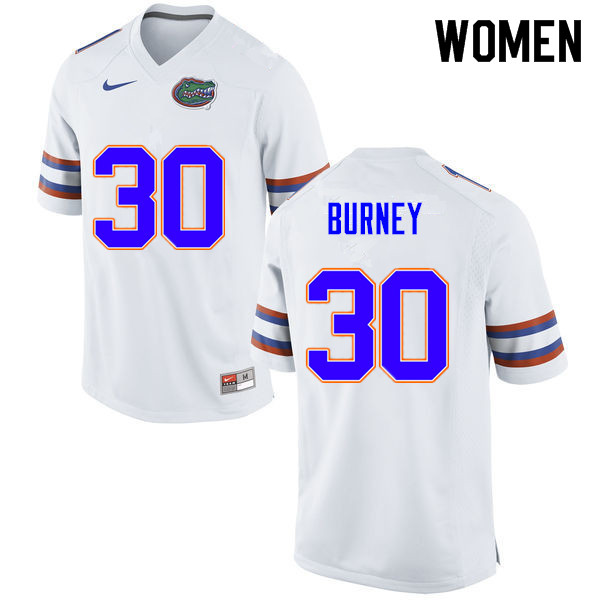 Women #30 Amari Burney Florida Gators College Football Jerseys Sale-White