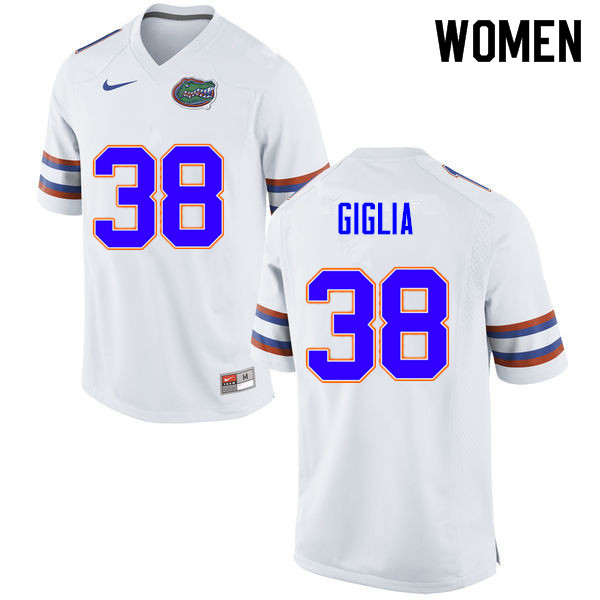 Women #38 Anthony Giglia Florida Gators College Football Jerseys Sale-White