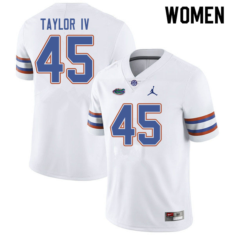 Jordan Brand Women #45 Clifford Taylor IV Florida Gators College Football Jerseys Sale-White