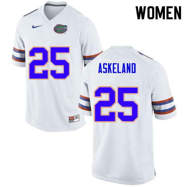 Women #25 Erik Askeland Florida Gators College Football Jerseys Sale-White