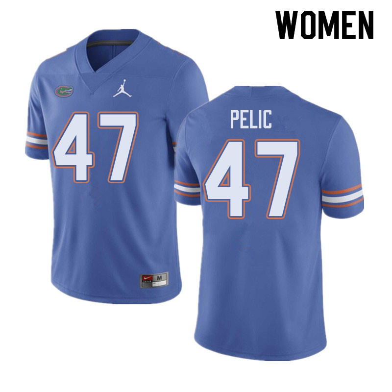 Jordan Brand Women #47 Justin Pelic Florida Gators College Football Jerseys Sale-Blue