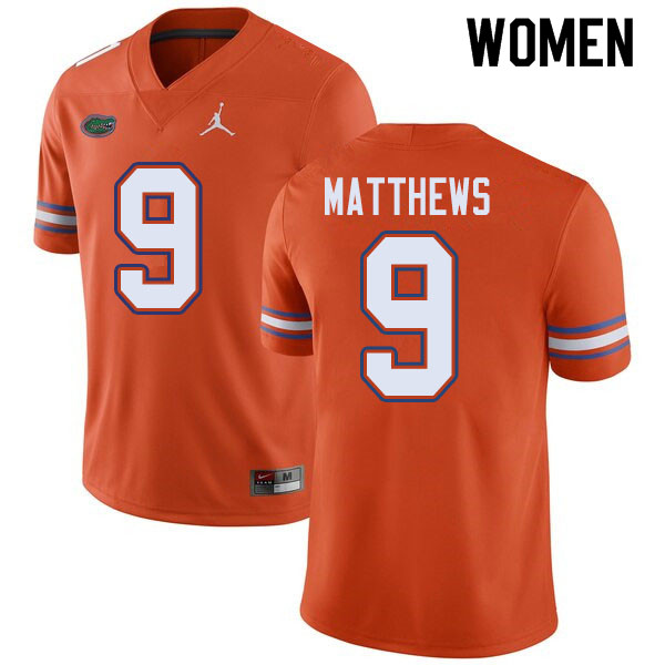 Jordan Brand Women #9 Luke Matthews Florida Gators College Football Jerseys Sale-Orange