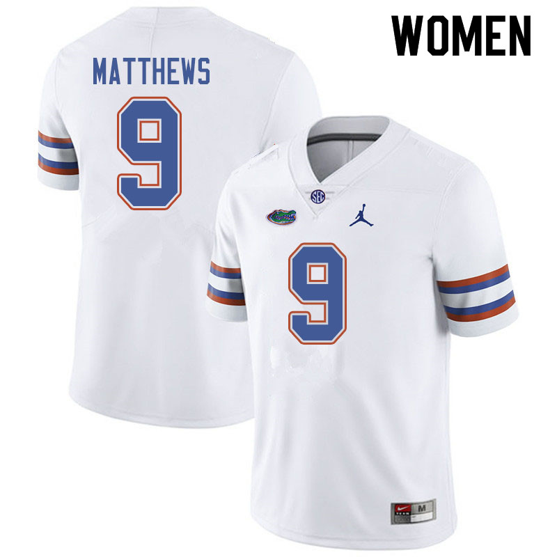 Jordan Brand Women #9 Luke Matthews Florida Gators College Football Jerseys Sale-White