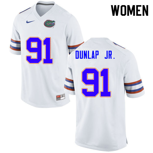 Women #91 Marlon Dunlap Jr. Florida Gators College Football Jerseys Sale-White