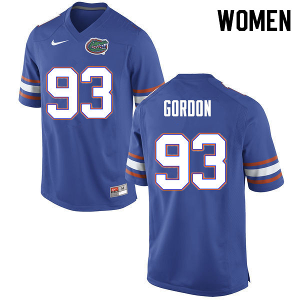 Women #93 Moses Gordon Florida Gators College Football Jerseys Sale-Blue