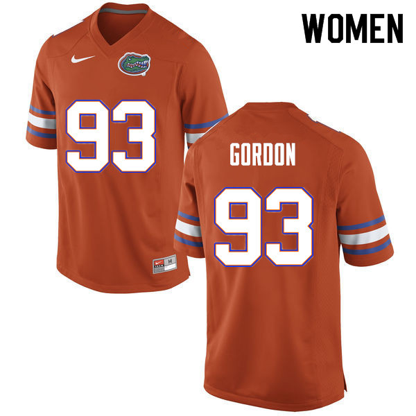 Women #93 Moses Gordon Florida Gators College Football Jerseys Sale-Orange