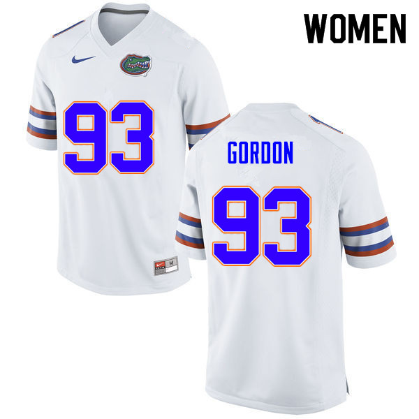 Women #93 Moses Gordon Florida Gators College Football Jerseys Sale-White