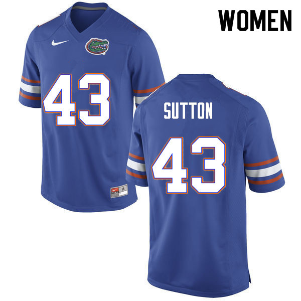 Women #43 Nicolas Sutton Florida Gators College Football Jerseys Sale-Blue