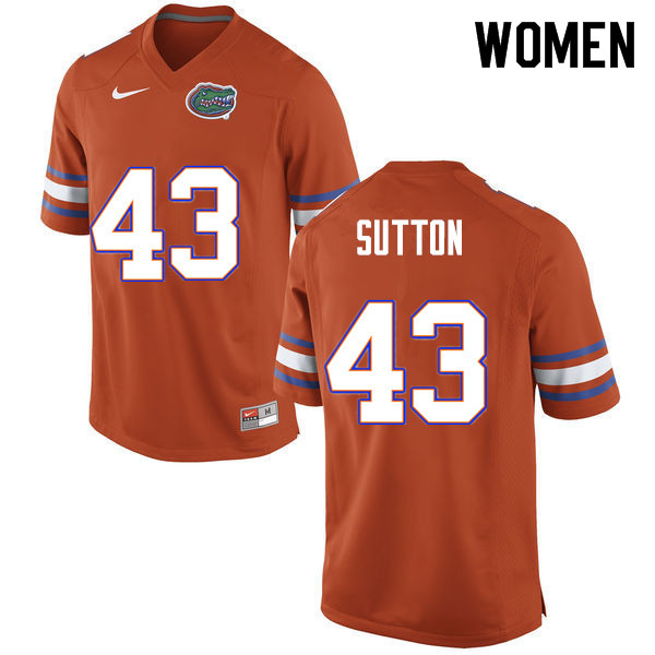 Women #43 Nicolas Sutton Florida Gators College Football Jerseys Sale-Orange