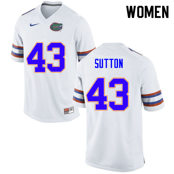 Women #43 Nicolas Sutton Florida Gators College Football Jerseys Sale-White
