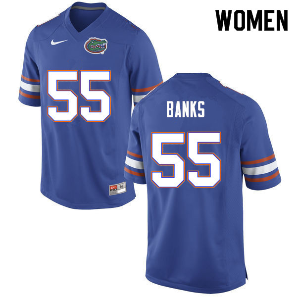 Women #55 Noah Banks Florida Gators College Football Jerseys Sale-Blue