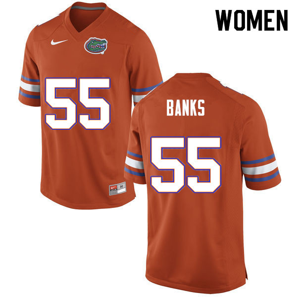 Women #55 Noah Banks Florida Gators College Football Jerseys Sale-Orange
