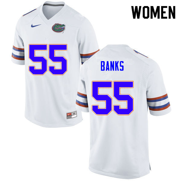 Women #55 Noah Banks Florida Gators College Football Jerseys Sale-White