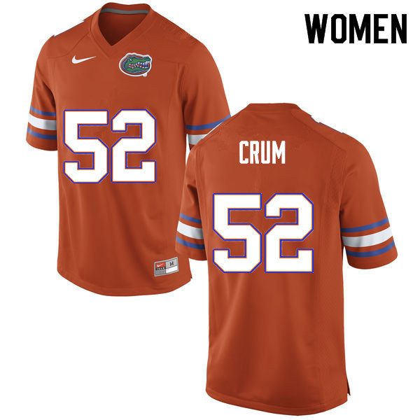 Women #52 Quaylin Crum Florida Gators College Football Jerseys Sale-Orange