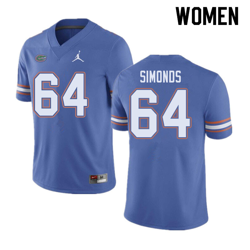 Jordan Brand Women #64 Riley Simonds Florida Gators College Football Jerseys Sale-Blue