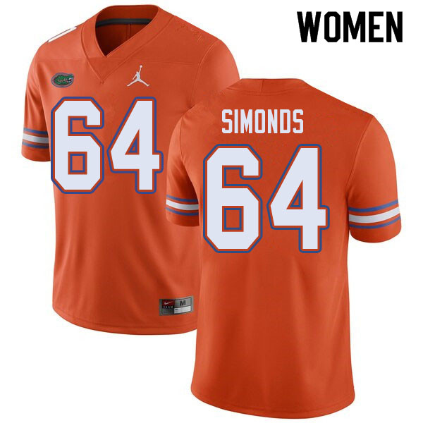 Jordan Brand Women #64 Riley Simonds Florida Gators College Football Jerseys Sale-Orange