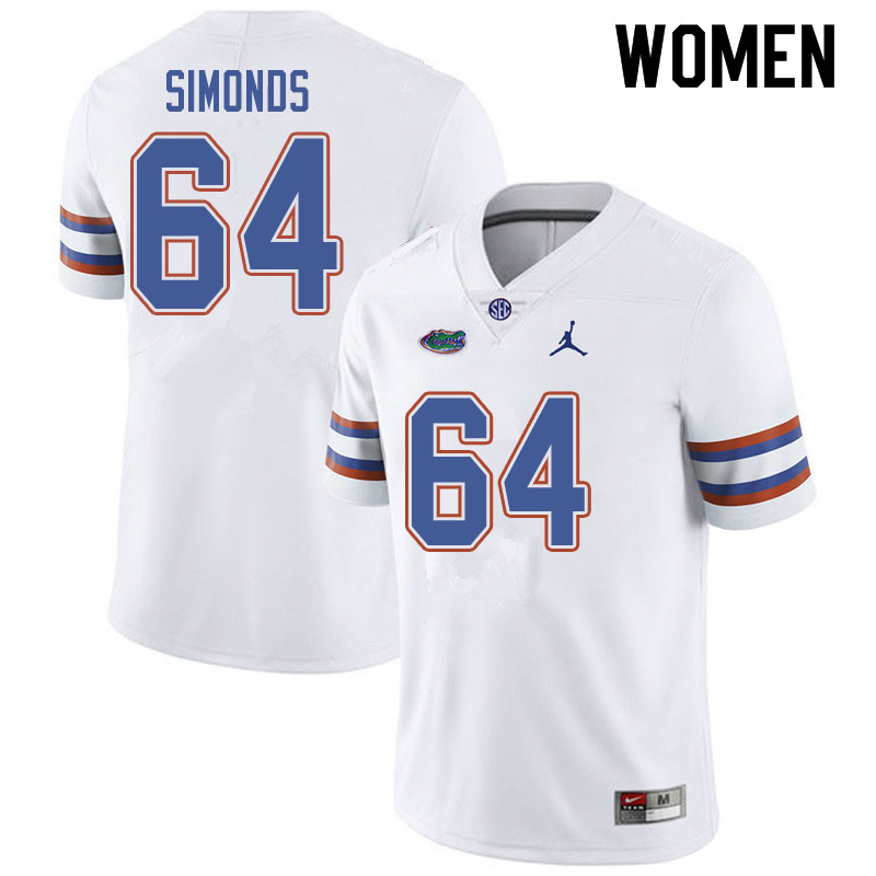 Jordan Brand Women #64 Riley Simonds Florida Gators College Football Jerseys Sale-White