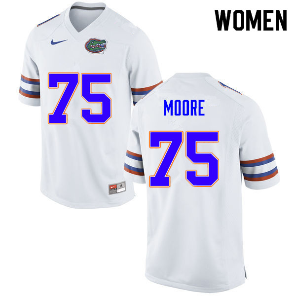 Women #75 T.J. Moore Florida Gators College Football Jerseys Sale-White